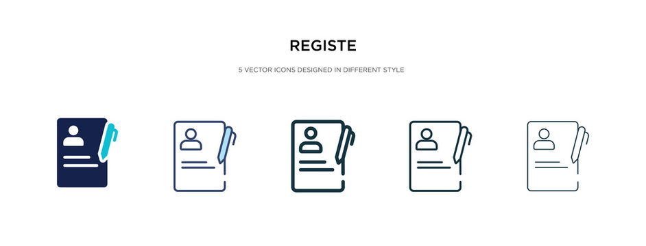 registe icon in different style vector illustration. two colored and black registe vector icons designed in filled, outline, line and stroke style can be used for web, mobile, ui