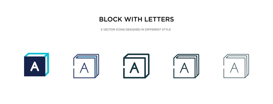block with letters icon in different style vector illustration. two colored and black block with letters vector icons designed in filled, outline, line and stroke style can be used for web, mobile,