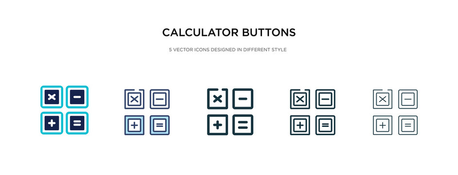 calculator buttons interface icon in different style vector illustration. two colored and black calculator buttons interface vector icons designed in filled, outline, line and stroke style can be