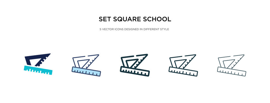 set square school tool icon in different style vector illustration. two colored and black set square school tool vector icons designed in filled, outline, line and stroke style can be used for web,