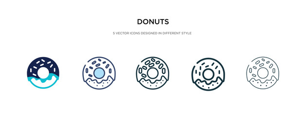 donuts icon in different style vector illustration. two colored and black donuts vector icons designed in filled, outline, line and stroke style can be used for web, mobile, ui