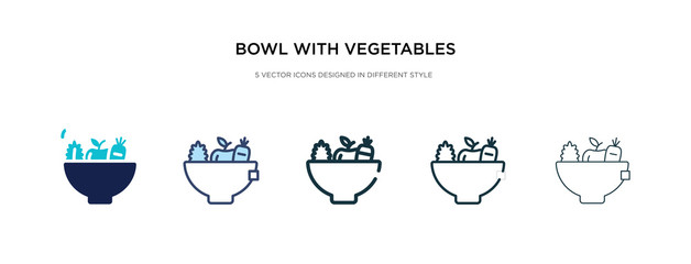 bowl with vegetables icon in different style vector illustration. two colored and black bowl with vegetables vector icons designed in filled, outline, line and stroke style can be used for web,