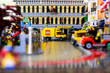 Valencia, Spain - April 13, 2019: Scene recreated with Lego pieces of workers in daily tasks in a city.