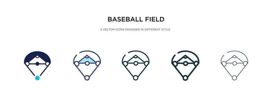 baseball field icon in different style vector illustration. two colored and black baseball field vector icons designed in filled, outline, line and stroke style can be used for web, mobile, ui