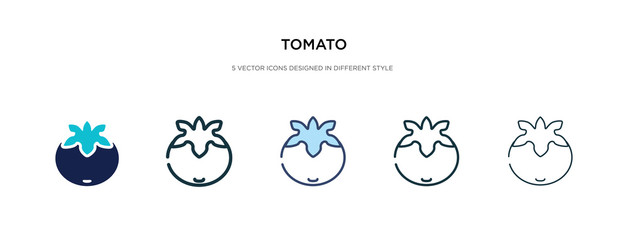 tomato icon in different style vector illustration. two colored and black tomato vector icons designed in filled, outline, line and stroke style can be used for web, mobile, ui