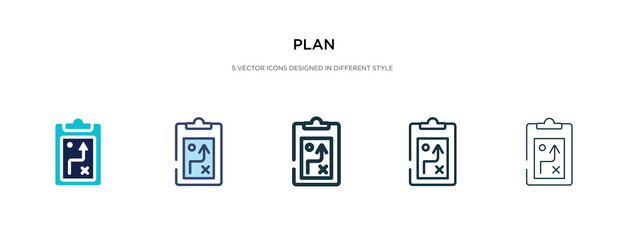plan icon in different style vector illustration. two colored and black plan vector icons designed in filled, outline, line and stroke style can be used for web, mobile, ui