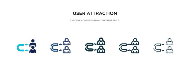 user attraction icon in different style vector illustration. two colored and black user attraction vector icons designed in filled, outline, line and stroke style can be used for web, mobile, ui - fototapety na wymiar