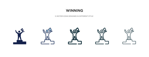 winning icon in different style vector illustration. two colored and black winning vector icons designed in filled, outline, line and stroke style can be used for web, mobile, ui