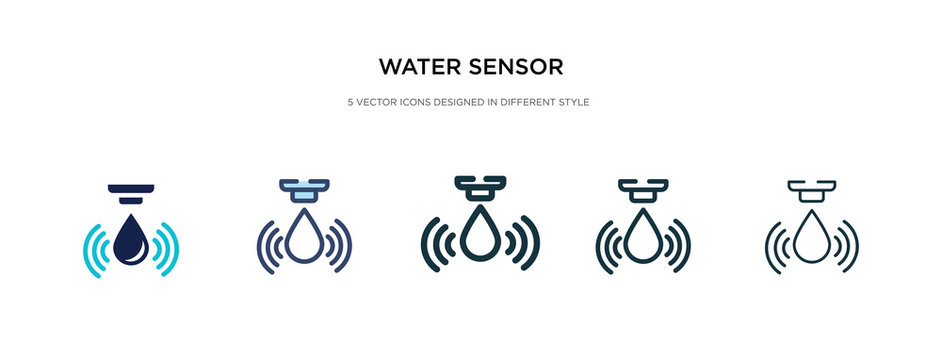 water sensor icon in different style vector illustration. two colored and black water sensor vector icons designed in filled, outline, line and stroke style can be used for web, mobile, ui