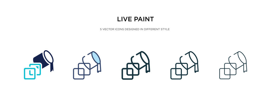 live paint icon in different style vector illustration. two colored and black live paint vector icons designed in filled, outline, line and stroke style can be used for web, mobile, ui