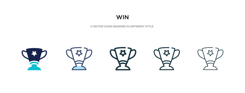 win icon in different style vector illustration. two colored and black win vector icons designed in filled, outline, line and stroke style can be used for web, mobile, ui