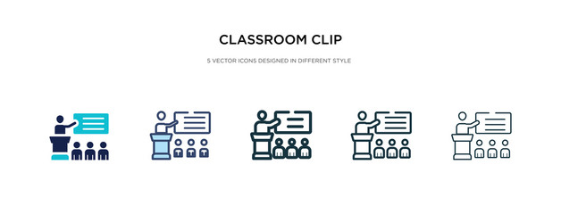 classroom clip icon in different style vector illustration. two colored and black classroom clip vector icons designed in filled, outline, line and stroke style can be used for web, mobile, ui