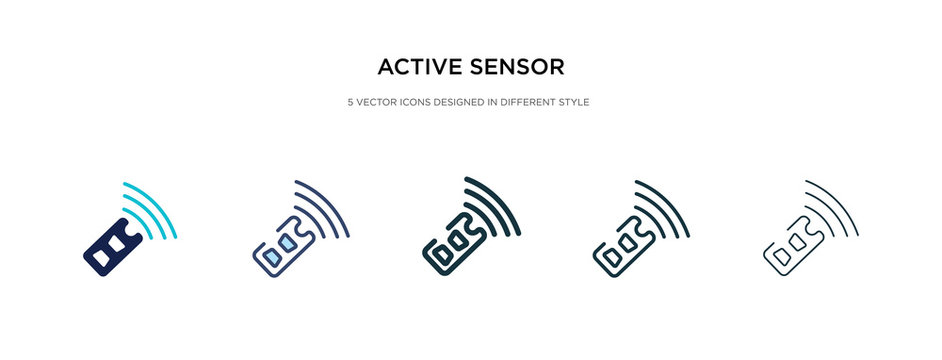 active sensor icon in different style vector illustration. two colored and black active sensor vector icons designed in filled, outline, line and stroke style can be used for web, mobile, ui