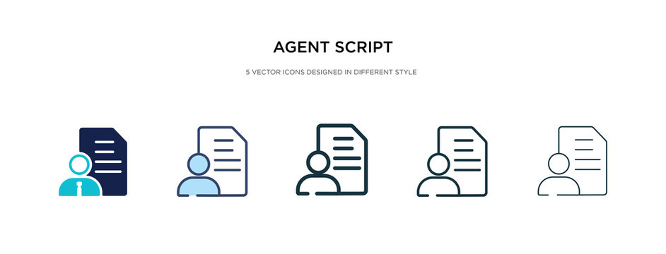 agent script icon in different style vector illustration. two colored and black agent script vector icons designed in filled, outline, line and stroke style can be used for web, mobile, ui