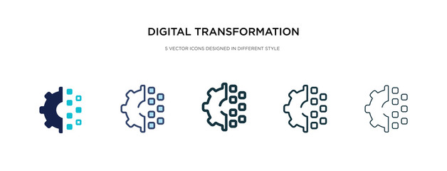digital transformation icon in different style vector illustration. two colored and black digital transformation vector icons designed in filled, outline, line and stroke style can be used for web,