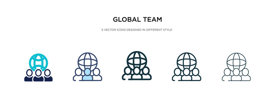 global team icon in different style vector illustration. two colored and black global team vector icons designed in filled, outline, line and stroke style can be used for web, mobile, ui
