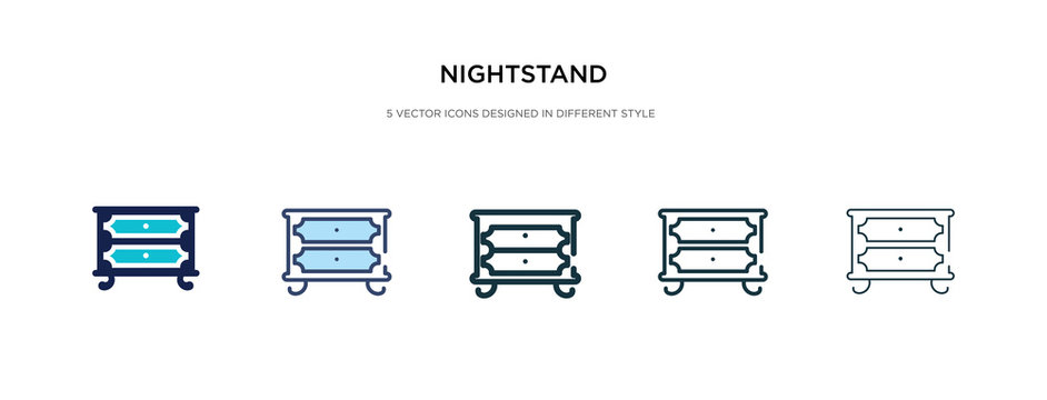 nightstand icon in different style vector illustration. two colored and black nightstand vector icons designed in filled, outline, line and stroke style can be used for web, mobile, ui