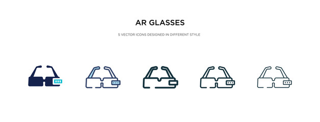 ar glasses icon in different style vector illustration. two colored and black ar glasses vector icons designed in filled, outline, line and stroke style can be used for web, mobile, ui