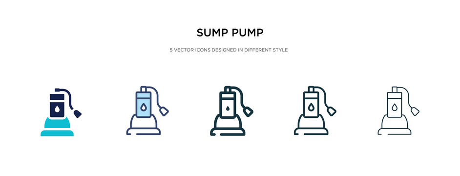 sump pump icon in different style vector illustration. two colored and black sump pump vector icons designed in filled, outline, line and stroke style can be used for web, mobile, ui