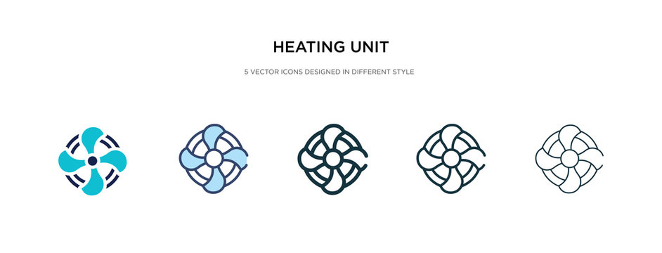 heating unit icon in different style vector illustration. two colored and black heating unit vector icons designed in filled, outline, line and stroke style can be used for web, mobile, ui