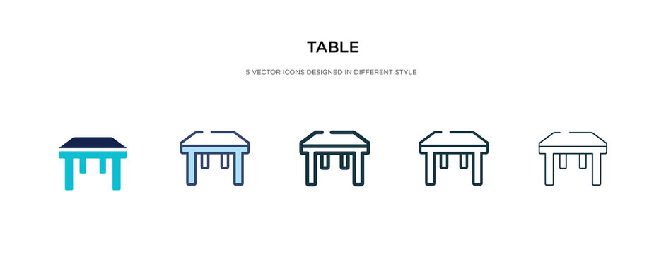 table icon in different style vector illustration. two colored and black table vector icons designed in filled, outline, line and stroke style can be used for web, mobile, ui