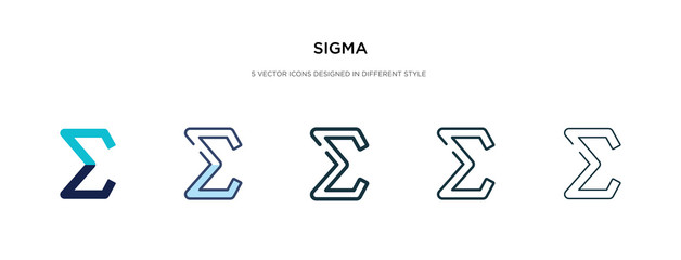 sigma icon in different style vector illustration. two colored and black sigma vector icons designed in filled, outline, line and stroke style can be used for web, mobile, ui