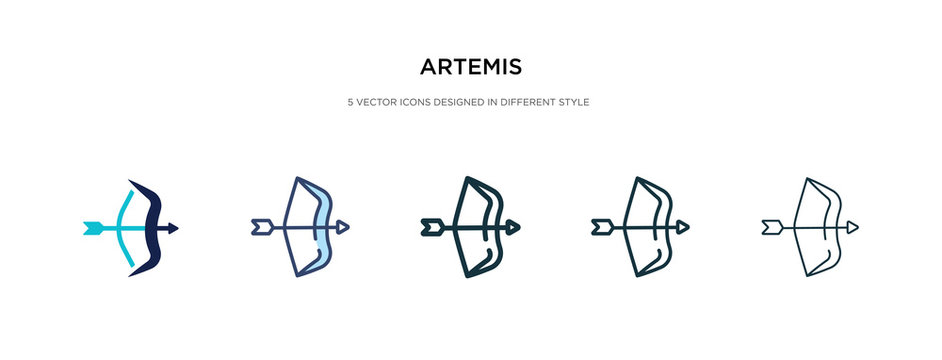 artemis icon in different style vector illustration. two colored and black artemis vector icons designed in filled, outline, line and stroke style can be used for web, mobile, ui