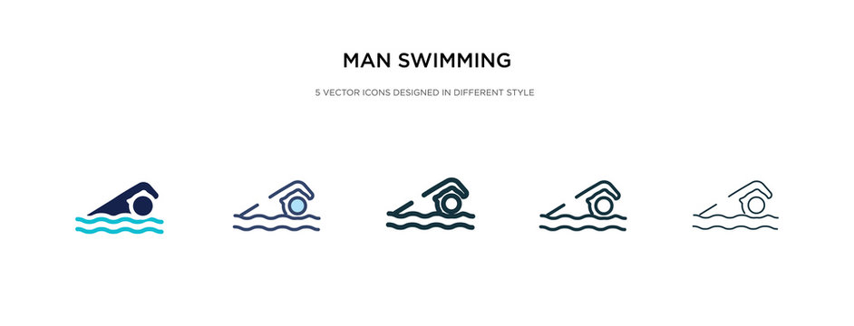 man swimming icon in different style vector illustration. two colored and black man swimming vector icons designed in filled, outline, line and stroke style can be used for web, mobile, ui