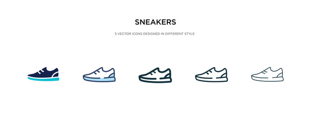 sneakers icon in different style vector illustration. two colored and black sneakers vector icons designed in filled, outline, line and stroke style can be used for web, mobile, ui Wall mural