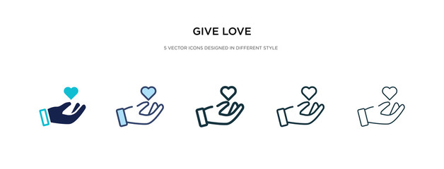 give love icon in different style vector illustration. two colored and black give love vector icons designed in filled, outline, line and stroke style can be used for web, mobile, ui