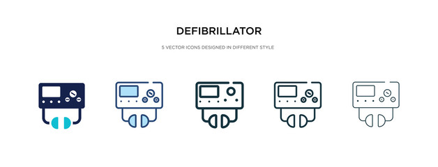 defibrillator icon in different style vector illustration. two colored and black defibrillator vector icons designed in filled, outline, line and stroke style can be used for web, mobile, ui
