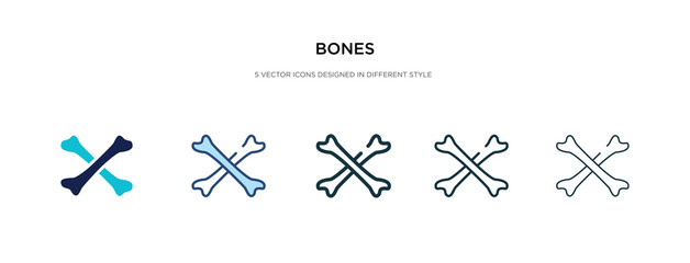 bones icon in different style vector illustration. two colored and black bones vector icons designed in filled, outline, line and stroke style can be used for web, mobile, ui