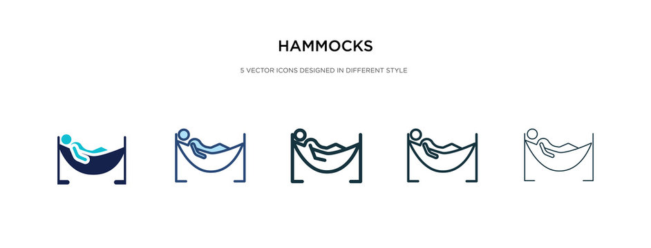 hammocks icon in different style vector illustration. two colored and black hammocks vector icons designed in filled, outline, line and stroke style can be used for web, mobile, ui