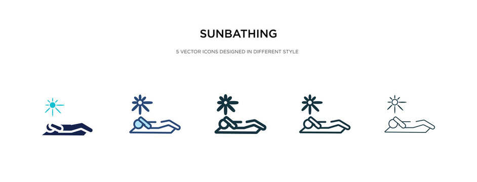 sunbathing icon in different style vector illustration. two colored and black sunbathing vector icons designed in filled, outline, line and stroke style can be used for web, mobile, ui