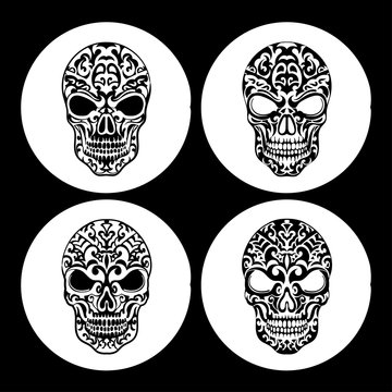 Vintage ethnic hand drawn human skull design pattern