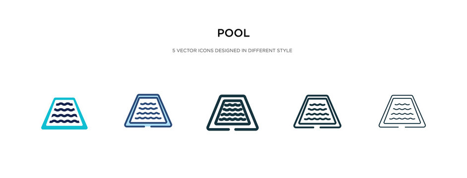 pool icon in different style vector illustration. two colored and black pool vector icons designed in filled, outline, line and stroke style can be used for web, mobile, ui
