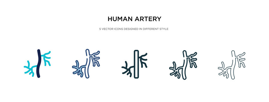 human artery icon in different style vector illustration. two colored and black human artery vector icons designed in filled, outline, line and stroke style can be used for web, mobile, ui