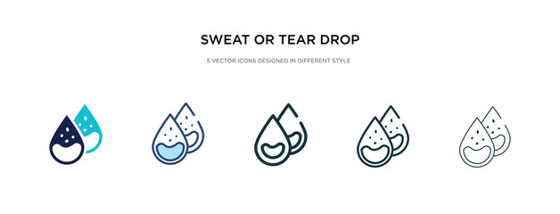 sweat or tear drop icon in different style vector illustration. two colored and black sweat or tear drop vector icons designed in filled, outline, line and stroke style can be used for web, mobile,
