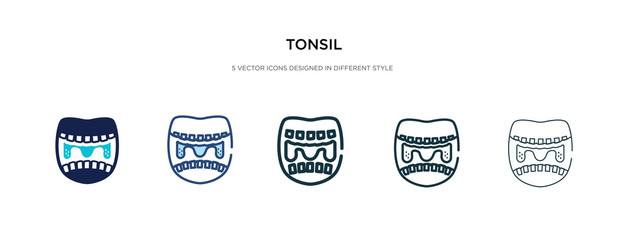 tonsil icon in different style vector illustration. two colored and black tonsil vector icons designed in filled, outline, line and stroke style can be used for web, mobile, ui