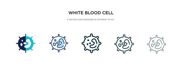 white blood cell icon in different style vector illustration. two colored and black white blood cell vector icons designed in filled, outline, line and stroke style can be used for web, mobile, ui