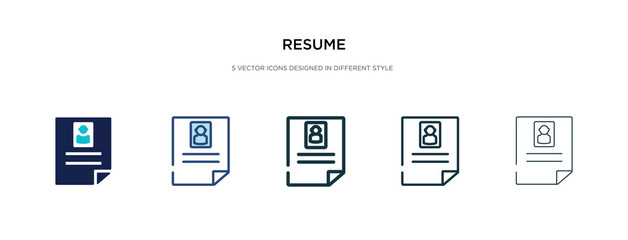 resume icon in different style vector illustration. two colored and black resume vector icons designed in filled, outline, line and stroke style can be used for web, mobile, ui