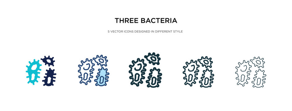 three bacteria icon in different style vector illustration. two colored and black three bacteria vector icons designed in filled, outline, line and stroke style can be used for web, mobile, ui
