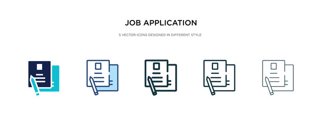job application icon in different style vector illustration. two colored and black job application vector icons designed in filled, outline, line and stroke style can be used for web, mobile, ui