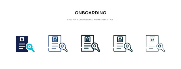onboarding icon in different style vector illustration. two colored and black onboarding vector icons designed in filled, outline, line and stroke style can be used for web, mobile, ui