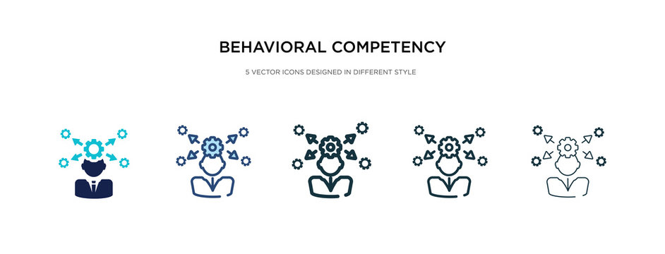 behavioral competency icon in different style vector illustration. two colored and black behavioral competency vector icons designed in filled, outline, line and stroke style can be used for web,