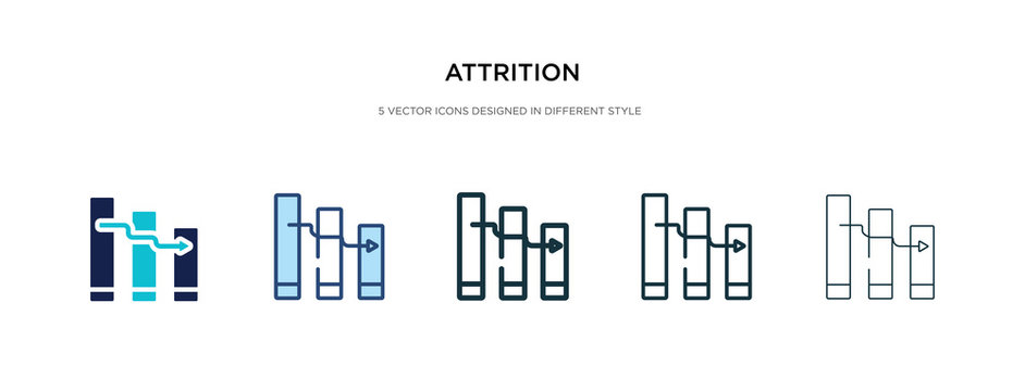 attrition icon in different style vector illustration. two colored and black attrition vector icons designed in filled, outline, line and stroke style can be used for web, mobile, ui