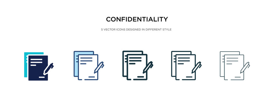 confidentiality agreement icon in different style vector illustration. two colored and black confidentiality agreement vector icons designed in filled, outline, line and stroke style can be used for