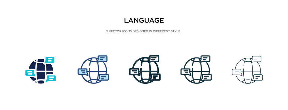 language icon in different style vector illustration. two colored and black language vector icons designed in filled, outline, line and stroke style can be used for web, mobile, ui