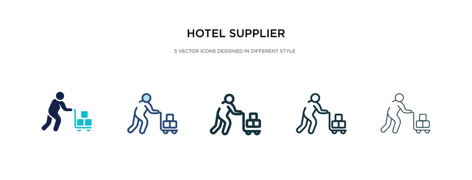 hotel supplier icon in different style vector illustration. two colored and black hotel supplier vector icons designed in filled, outline, line and stroke style can be used for web, mobile, ui