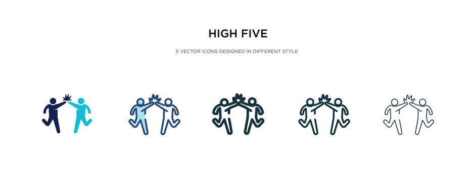 high five icon in different style vector illustration. two colored and black high five vector icons designed in filled, outline, line and stroke style can be used for web, mobile, ui